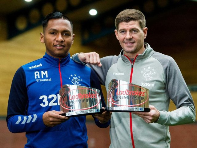 Alfredo Morelos and Steven Gerrard with their September awards. Picture: SNS
