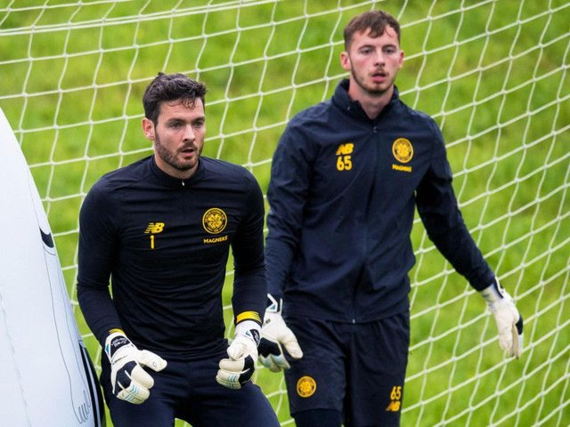 Conor Hazard (right) with Craig Gordon during Celtic training at Lennoxtown