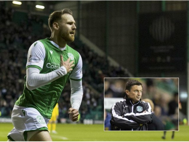 Martin Boyle wheels away after scoring a late equaliser to ease the pressure on Paul Heckingbottom
