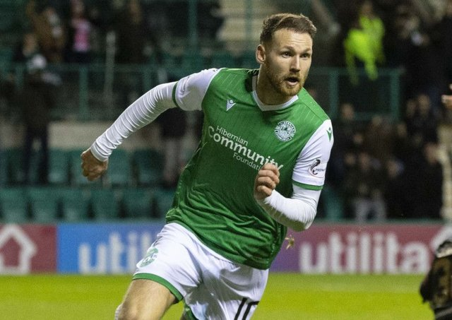 Martin Boyle wheels away to celebrate his equaliser against Livingston. Picture: Bruce White/SNS