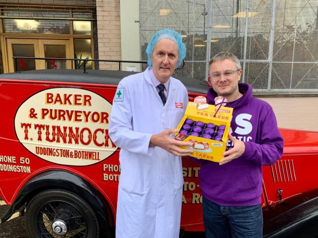 Tunnocks sales manager Fergus Loudon, left, and Murray Easton, head of fundraising at PCS. Picture: Contributed