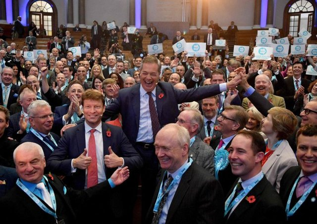 Brexit Party leader Nigel Farage (centre R) and Brexit Party Chairman Richard Tice (centre L). Picture: Getty Images
