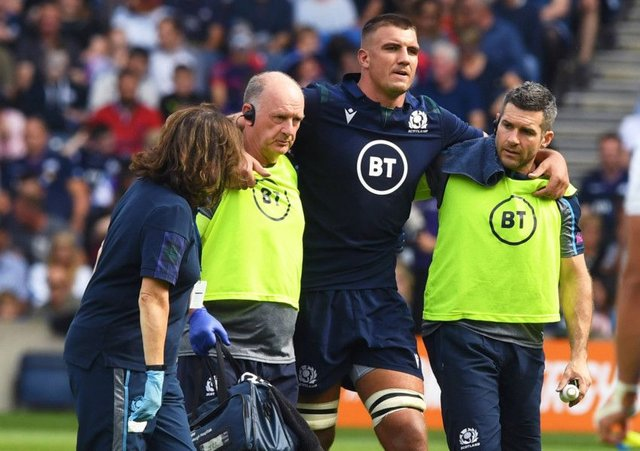 Sam Skinner was forced off with injury during the summer Test against France. Picture: SNS