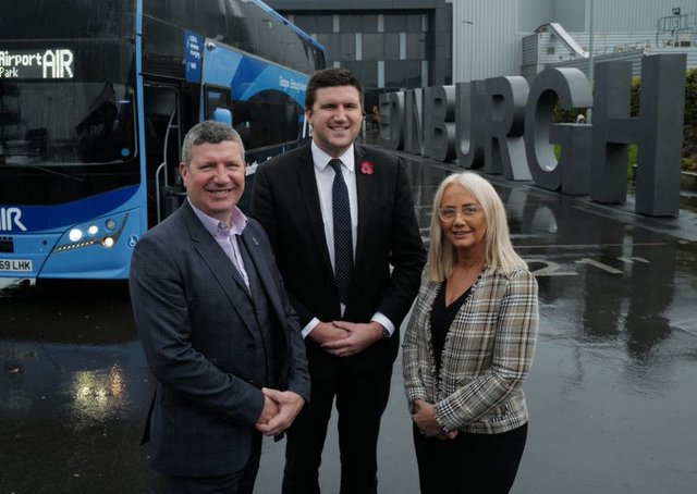 Chief Executive of Edinburgh Airport Gordon Dewar, Scottish Citylink Operations Director Peter Knight and West Coach Motors Coaching Manager Liz Logan launch the new coaches at Edinburgh Airport.