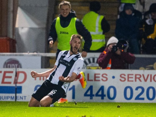 Sam Foley celebrates after scoring the winning goal against Ross County. Picture: SNS