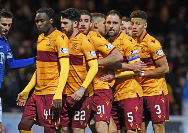 The Motherwell players get into formation for a corner against St Johnstone. Picture: Craig Williamson / SNS