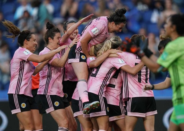 Scottish players celebrate a World Cup goal against Argentina. Picture: Lionel Bonaventure/Getty