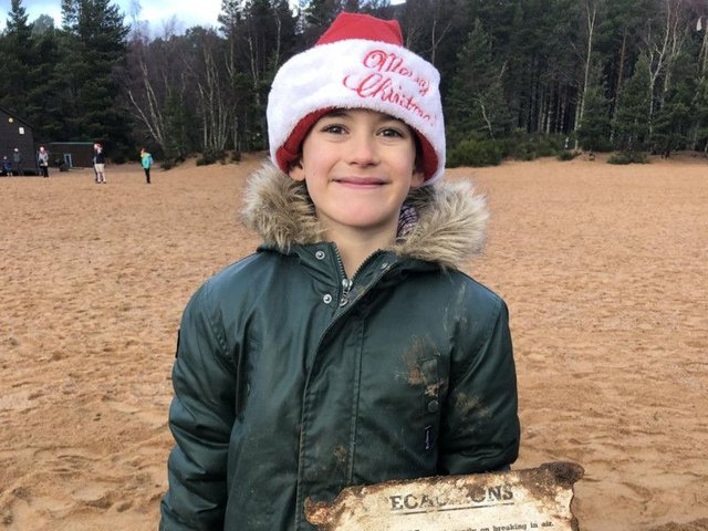 Patrick McAlindon, aged seven, found the grenade remains when he was out testing his new kit on December 25 during a family holiday to Aviemore, Scottish Highlands.