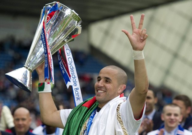 Madjid Bougherra, who helped Rangers win their last piece of major silverware in 2011, was in Dubai at the weekend catching up with his former Ibrox team-mates like Steven Davis. Picture: SNS.