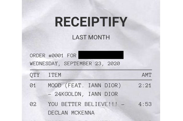 "People have been sharing their ""receipts"" on social media (Photo: Receiptify)"