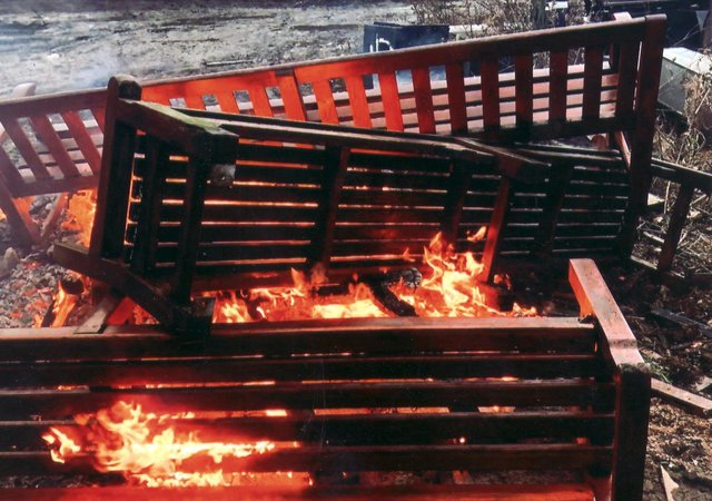 Memorial benches from Edinburgh's Princes Street Gardens are burned at a facility on the outskirts of the city