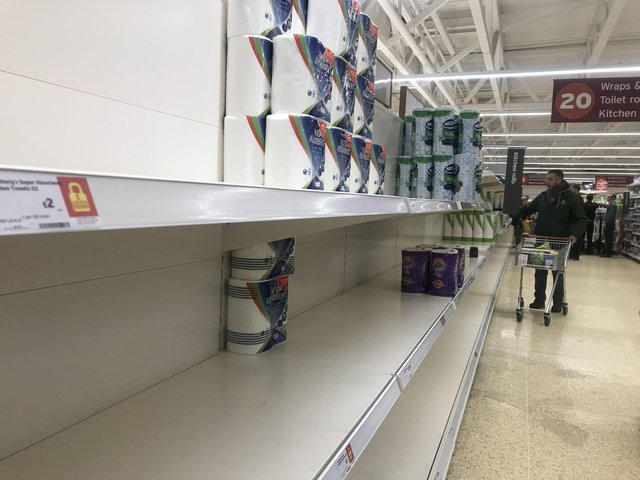 While the Sainsbury's Craigleith store in Edinburgh saw shelves almost stripped bare of kitchen roll, retailers nationally were confident that supermarkets would not run short of food and other essentials.