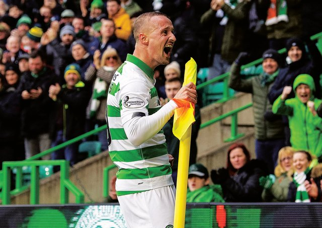 Leigh Griffiths celebrates his first goal for Celtic against St Mirren. Picture: Ross Parker/ SNS