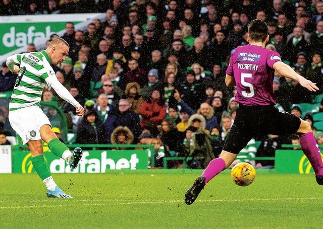 Leigh Griffiths scores his hat-trick goal against St Mirren. Picture: Ross Parker/ SNS