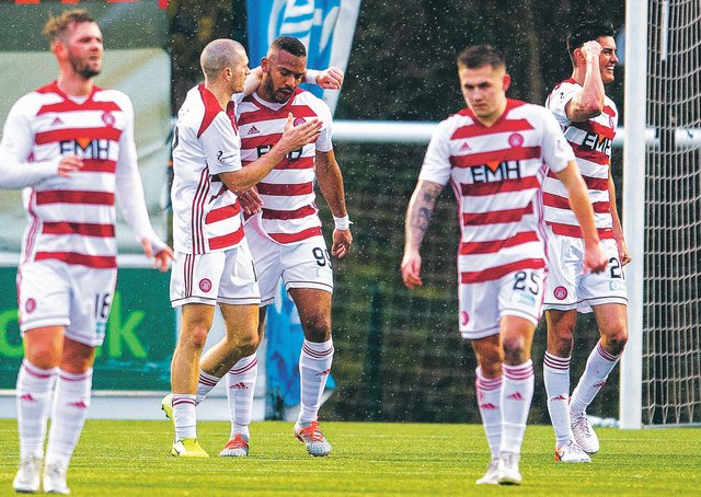 Marios Ogkmpoe neted a late penalty to boost Hamilton's survival hopes. Picture: SNS Group