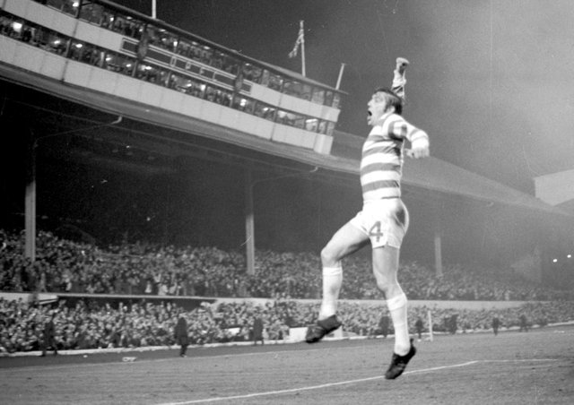 Bobby Murdoch jumps for joy after his goal gave Celtic the lead at Hampden.
