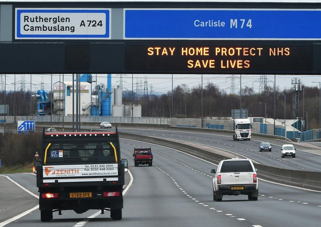 The message on the M74 was pretty clear but there are situations were travel is still necessary (Picture: John Devlin)