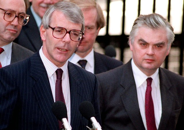 In 1991, the then Chancellor Norman Lamont, seen with Prime Minister John Major, was ridiculed for using the phrase 'green shoots' amid the economic troubles of that year (Picture: PA)