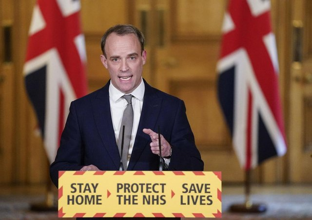 Foreign Secretary Dominic Raab gives a media briefing in Downing Street on coronavirus
