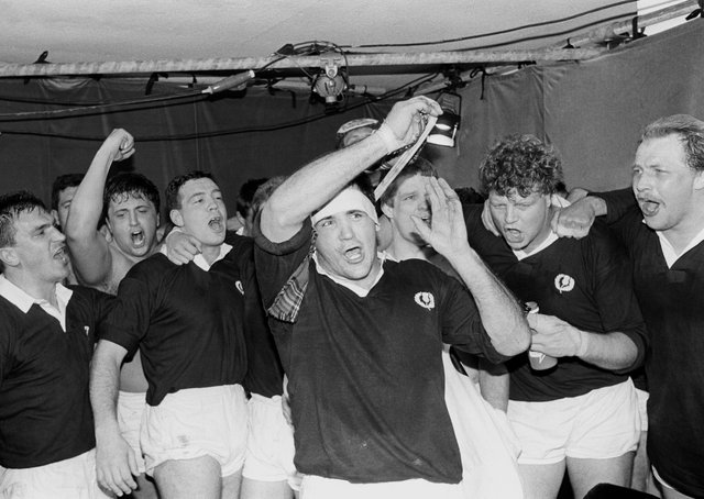 Captain David Sole and his players, top, celebrate their victory over England to seal the Grand Slam in 1990. Picture: PA