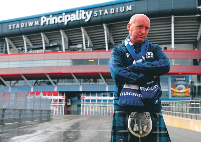 A disgruntled Scotland fan outside a deserted Principality Stadium. Picture: Stu Forster/Getty Images