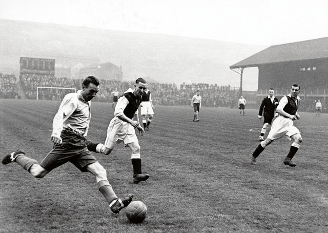 Sir Stanley Matthews, pictured playing for the RAF in 1943, turned out for Morton, Airdrie and Rangers during the war. Picture: Allsport Hulton Deutsch/Allsport