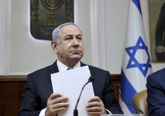 Israeli Prime Minister Benjamin Netanyahu chairs the weekly cabinet meeting in Jerusalem. Picture: Gali Tibbon/Pool via AP