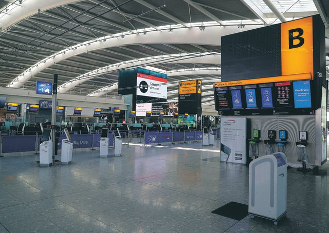 Heathrow's deserted Terminal 5. Picture: Steve Parsons/PA
