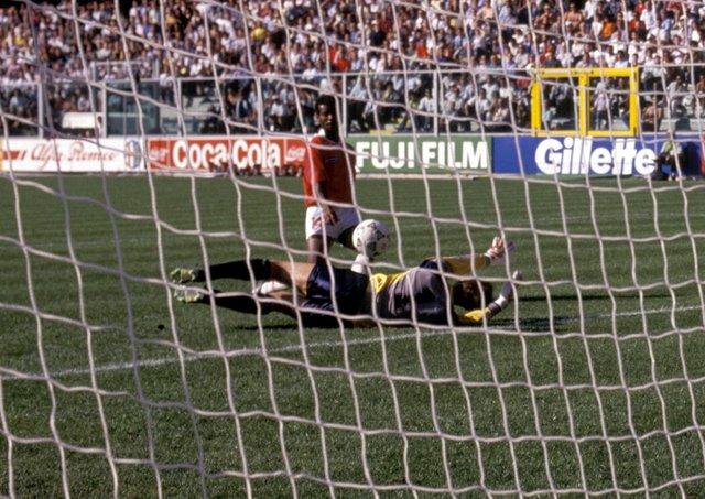 Juan Cayasso beats Jim Leighton for Costa Rica's winner in their 1-0 victory over Scotland in 1990.