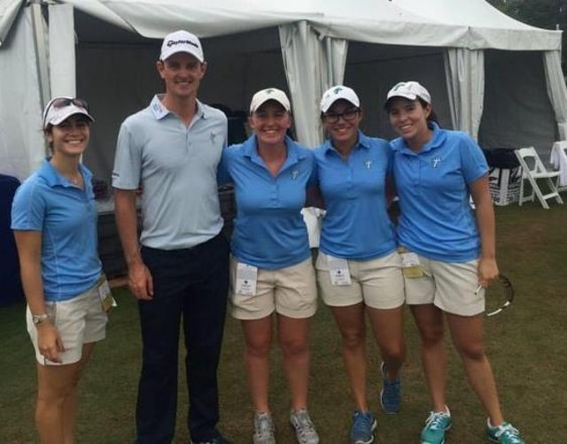 Gemma Dryburgh, third from left, is pictured with Justin Rose when she was a volunteer at the Zurich Classic in New Orleans.