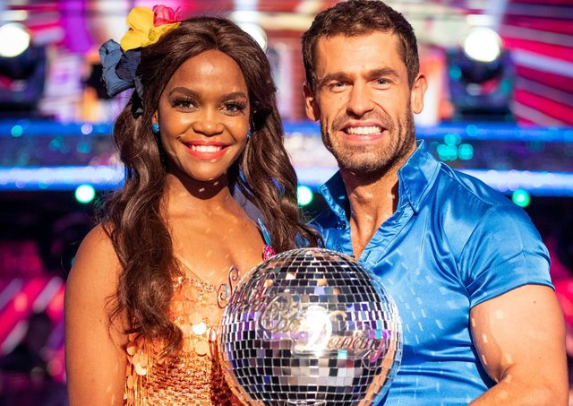 Kelvin Fletcher with Oti Mabuse after the actor won the Glitterball trophy during last year's live Strictly Come Dancing Final .