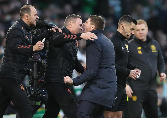 Plenty of passion during the last Celtic-Rangers match as Ibrox manager Steven Gerrard celebrates the 2-1 win at Parkhead. Picture: Ian MacNicol/Getty Images