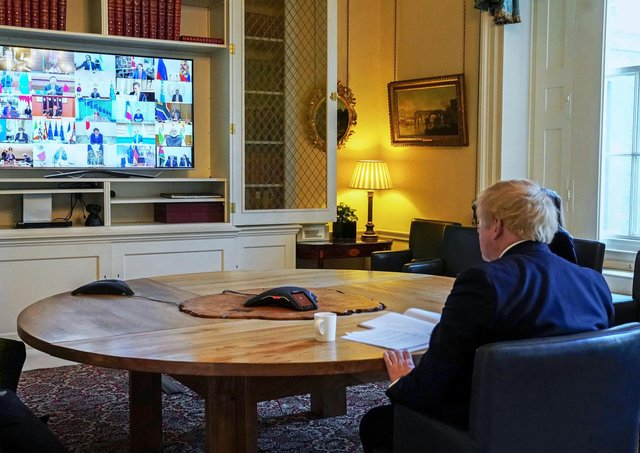 Boris Johnson on a video conference call to other G20 leaders. But such communications seldom seem to go without a hitch in the digital workplace (Picture: 10 Downing Street/Crown copyright/Andrew Parsons/PA Wire)