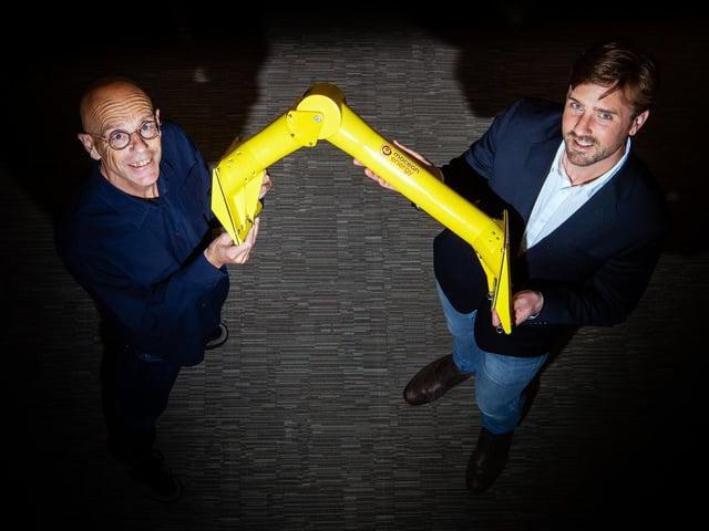 Chris Retzler (left) and Cameron McNatt of Mocean Energy. Picture: Ian Georgeson