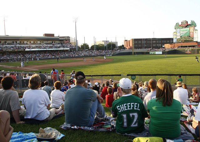 Supporters gather for the more authentic baseball experience, as the Dayton Dragons and the South Bend Silver Hawks do battle out on the diamond. Picture: John Grieshop/Getty Images