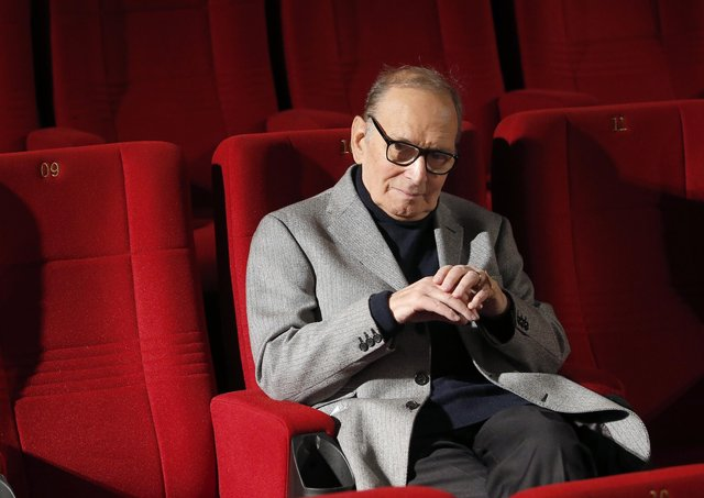 Italian composer Ennio Morricone poses during a photo call to promote his German 2014 concerts in Berlin, Germany. Picture: AP Photo/Michael Sohn
