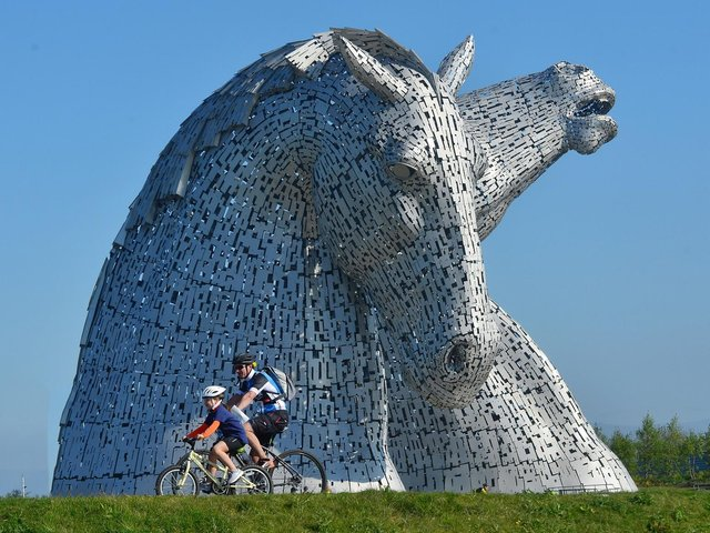 Cycling Scotland say people's habits have changed during lockdown. Pictured are the Kelpies in Falkirk.
