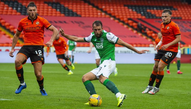 Christian Doidge scores to make it 1-0 to Hibs against Dundee United. Picture: Mark Scates/SNS Group