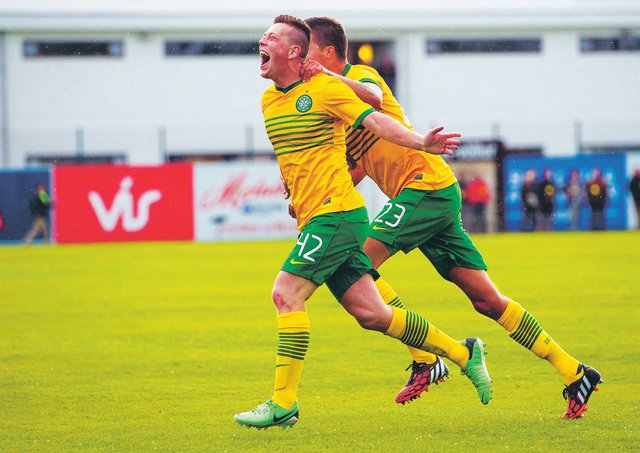 Callum McGregor celebrates after scoring his first goal for Celtic on his debut in a Champions League qualifier against KR Reykjavik in 2014. Photograph: Sammy Turner/SNS
