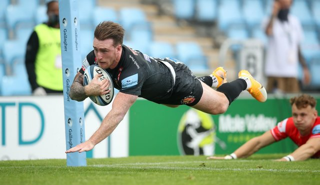 Stuart Hogg dives over to score Exeter's second try against Leicester. Picture: Adam Davy/PA Wire