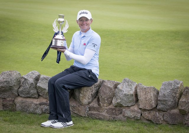 Stacy Lewis poses with the trophy after winning the Ladies Scottish Open at The Renaissance Club. Picture: PA