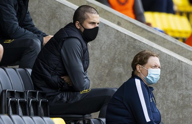 QPR-bound Lyndon Dykes watches on from the stands during Livingston's match against Rangers at the Tony Macaroni Arena. Picture: Craig Williamson/NMC Pool/PA Wire.