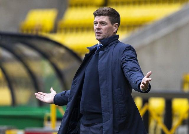 Rangers manager Steven Gerrard shows his frustration. Picture: Craig Williamson/SNS