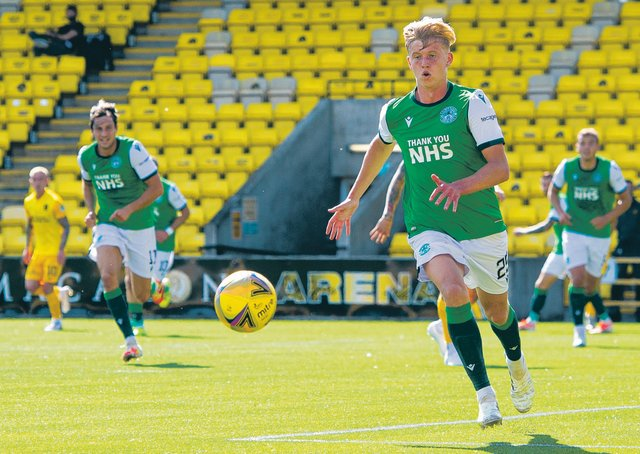 LIVINGSTON, SCOTLAND - AUGUST 08: Josh Doig in action for Hibernian during a Scottish Premiership match between Livingston and Hibernian at the Tony Macaroni Arena, on August 08, 2020, in Livingston, Scotland. (Ross MacDonald / SNS Group)