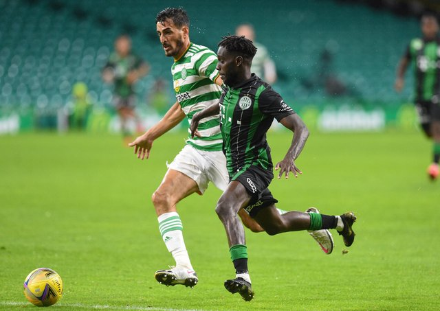 Celtic's Hatem Elhamed was found wanting as Ferencvaros' Tokmac Nguen scored the winner. Picture: Ross MacDonald / SNS