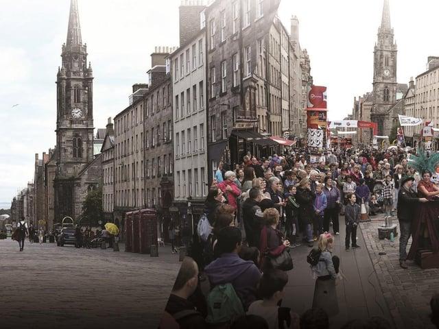 Edinburgh's Royal Mile in 2020 compared to 2019. Picture: TSPL