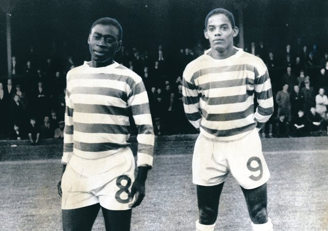 Ayrton Inacio and Marco di Sousa ahead of their Celtic bows in 1965.