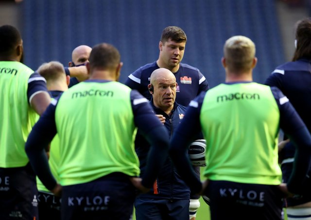 Edinburgh head coach Richard Cockerill speaks to his players. Picture: Andrew Milligan/PA