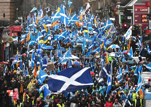 Independence supporters march through Glasgow in January.