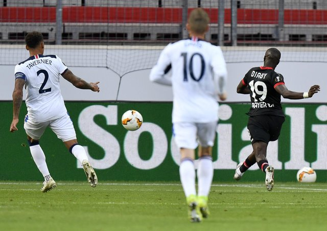 Bayer Leverkusen's Moussa Diaby scores against Rangers.  Picture: Martin Meissner/Getty Images